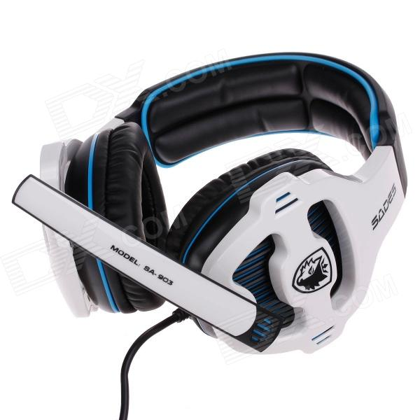 SADES SA-903 Multifunctional Stereo Headphones w/ Microphone for Computer - Black + White + Blue trendwoo® twins bluetooth wireless speaker support 2 0 left and right stereo sound surround with built in microphone hands free music player