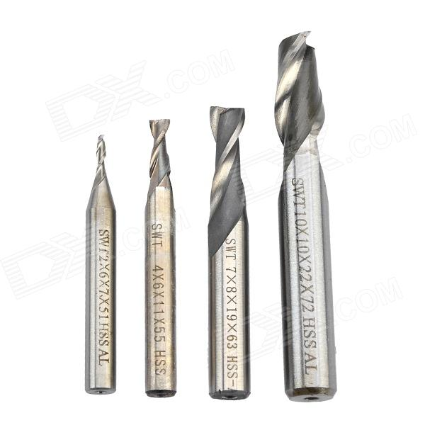 01-4 High-speed Steel Milling Cutters - Silver (4 PCS) mpx010 high speed 18000rpm coreless motors silver dc 3v 2 pcs