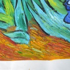 "Hand Painted Famous Oil Painting ""The Iris"" of Vincent Van Gogh - Multicolored"