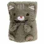 Cute Little Bear Style Dual-use Ultra-soft Plush Blanket Pillow  - Grey