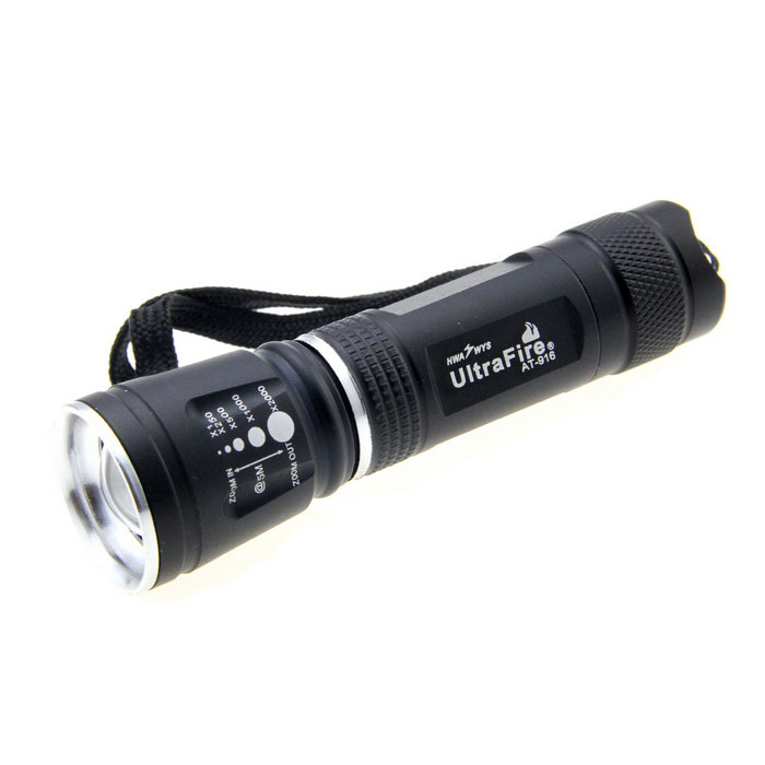 UltraFire AT-916 LED 120lm 3-Mode White Zooming Flashlight - Black (1 x 18650) ultrafire m3 t60 3 mode 910 lumen white led flashlight with strap black 1 x 18650