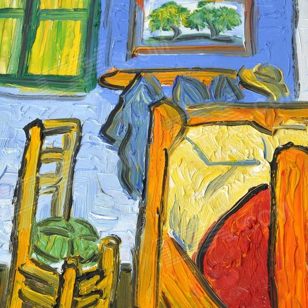 "hand painted famous oil painting ""the bedroom at arles.c.1887"" of"