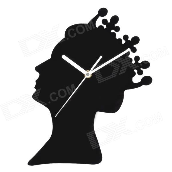 YKL009 Elegant Queen's Head Portrait Style Analog Wall Clock - Black (1 x AA)