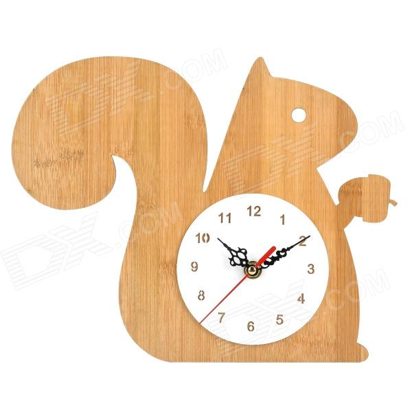 Cute Squirrel Style Analog Wall Clock - Wood (1 x AA)