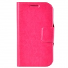Dikuka PU Leather Case Cover Stand w/ Strap / Card Slot for Samsung Galaxy Win i8552 - Deep Pink