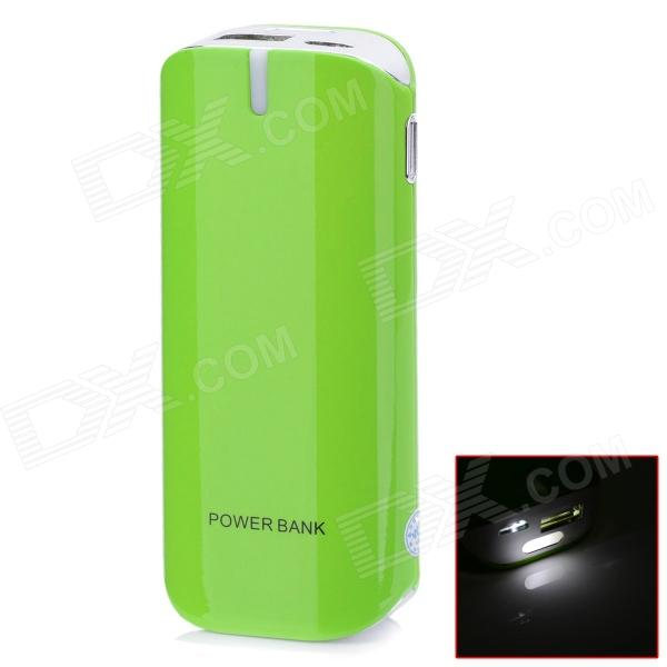 BP 5600mAh Mobile Power Source Bank w/ Stroboscopic LED Light for / Iphone / Samsung / HTC - Green bp 15000mah dual usb mobile power source bank for iphone 5s samsung htc white green
