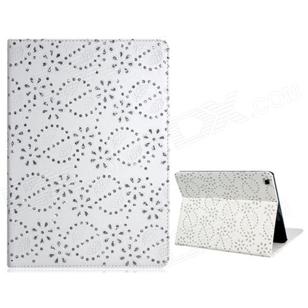 Sequins Floral Print Protective PU Leather Case Cover Stand for Ipad AIR - White