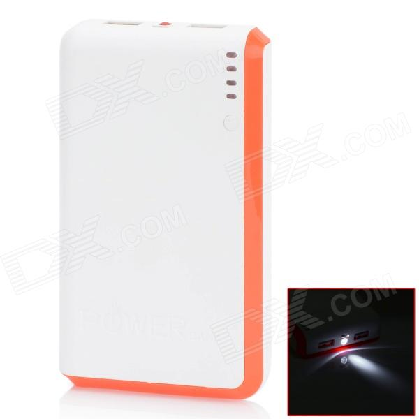 BP 15000mAh Dual-USB Mobile Power Source Bank for Iphone 5S / Samsung / HTC - White + Orange Red sony cp s15 s 15000 mah