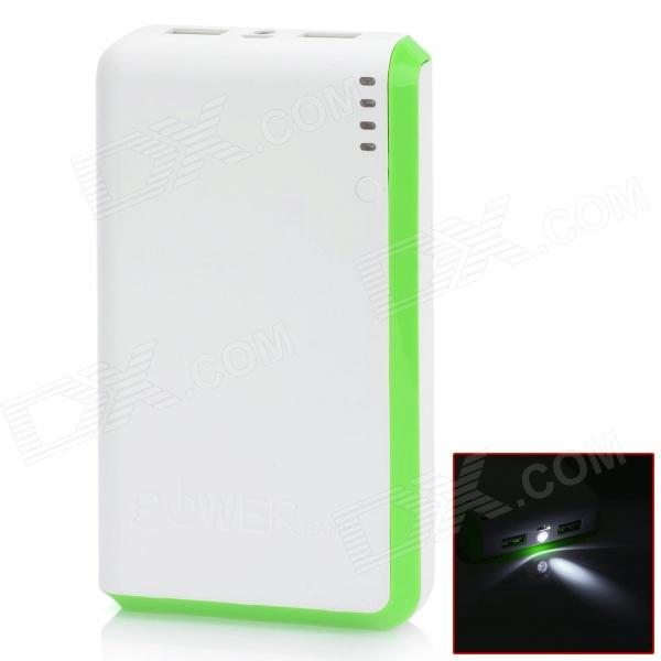 BP 15000mAh Dual-USB Mobile Power Source Bank for Iphone 5S / Samsung / HTC - White + Green sony cp s15 s 15000 mah