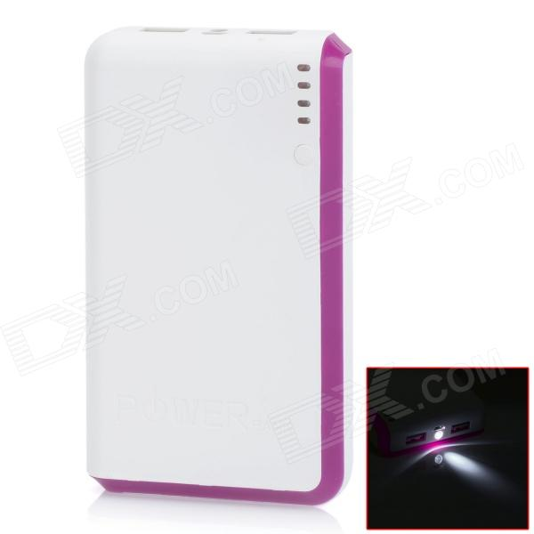 BP 15000mAh Dual-USB Mobile Power Source Bank for Iphone 5S / Samsung / HTC - White + Purple sony cp s15 s 15000 mah