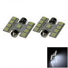 Festoon 31mm 1.8W 150lm 9 x SMD 5050 LED White Light Car Reading / Roof / Dome Lamp - (12V / 2 PCS)