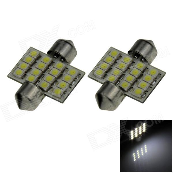 Festoon 31mm 1.6W 130lm 16 x SMD 1210 LED White Light Car Reading / Roof / Dome Lamp - (12V / 2 PCS)