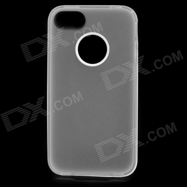 S-What Matte Protective TPU + PC Back Case for IPHONE 4 / 4S - Translucent White + White protective silicone back case for iphone 4 4s translucent white