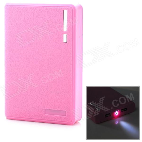 Portable 10000mAh Mobile Power Bank w/ Dual USB + LED Flashlight - Pink 22000mah power bank w dual usb led flashlight for tablet pc pink