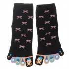 Enbl 5231 100% Cotton Fashionable Women's Toe Socks - Black (Pair)