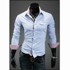 Stylish Men's Slim Fit Long-Sleeve Shirt - Blue (Size-L)