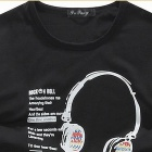 Stylish Headphones Pattern Men's Long-Sleeve T-shirt - Black (Size-XL)