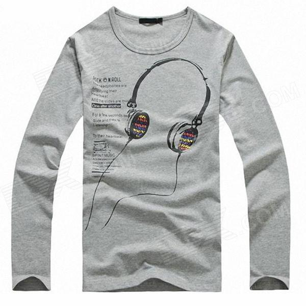 Stylish Headphones Pattern Men's Long-Sleeve T-shirt - Grey (Size-XL)