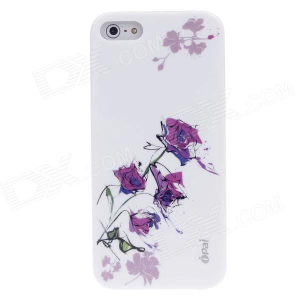 iPai HT3018 Dream Rose Ultrathin Protective PC Back Case for Iphone 5 - White + Purple protective pc tpu back case for iphone 5 w anti dust cover lavender purple