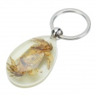 Crab Pattern Acrylic Crustaceans keychain - Wheat + Silver