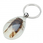 Cicada Pattern Acrylic Insect keychain - Deep Brown + Silver
