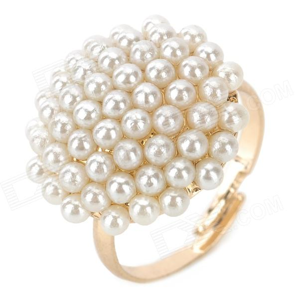 Cute Mushroom Style Finger Ring for Women - White + Light Golden