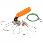 Stainless Steel 5 Lock Swivel Gripper w/ Fishing Float - Green + Orange + Multi-Colored