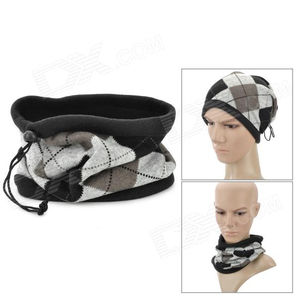 213 Outdoor Sport Warm Fleece Hat Scarf - Black + Grey