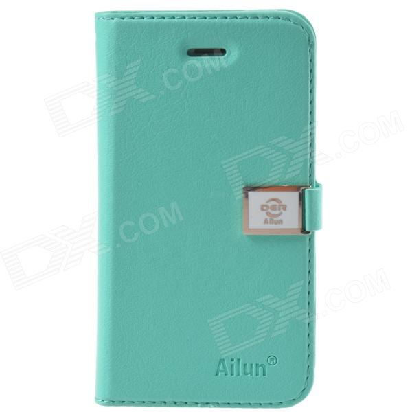 HELLO DEERE Ailun series PU Leather Case Cover w/ Card Slot / Strap for Iphone 5 / 5s - Green adidas authorized oem card holder leather cover for iphone 7 plus green