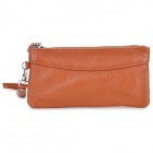 picvadee 0330 Leather Zipper Long Wallet w/ Strap for Women - Brown