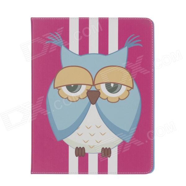 Stylish Owl Pattern PU Leather Case Cover Stand w/ Auto Sleep for Ipad 2 / 3 / 4 - Multicolored stylish owl pattern protective pu leather case cover stand for ipad air deep pink yellow white