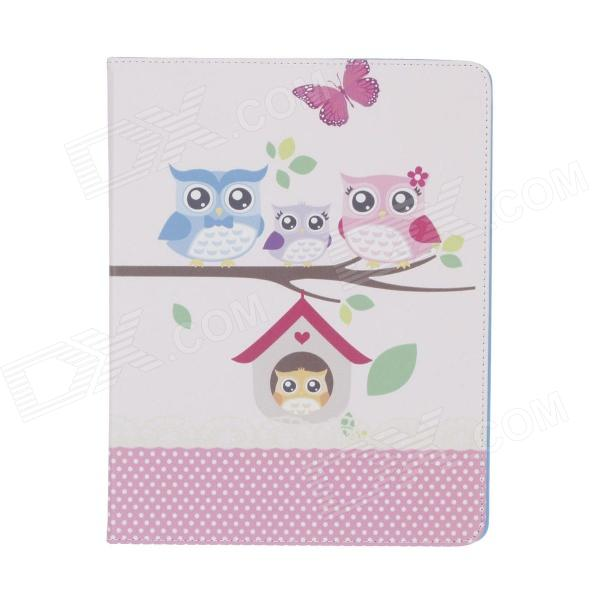 Stylish Owl Pattern PU Leather Case Cover Stand w/ Auto Sleep for Ipad 2 / 3 / 4 - Multicolored stylish pu leather case cover stand w auto sleep card holder for ipad 2 3 4 brown