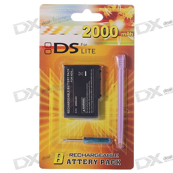 Replacement 3.7V 2000mAh Li-Ion Battery Pack with Screwdriver and Stylus for NDS Lite