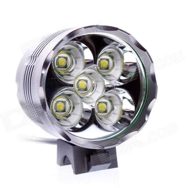 JN 5X LED 2800LM 3-mode White Bicycle Light - Gray (4 x 18650)