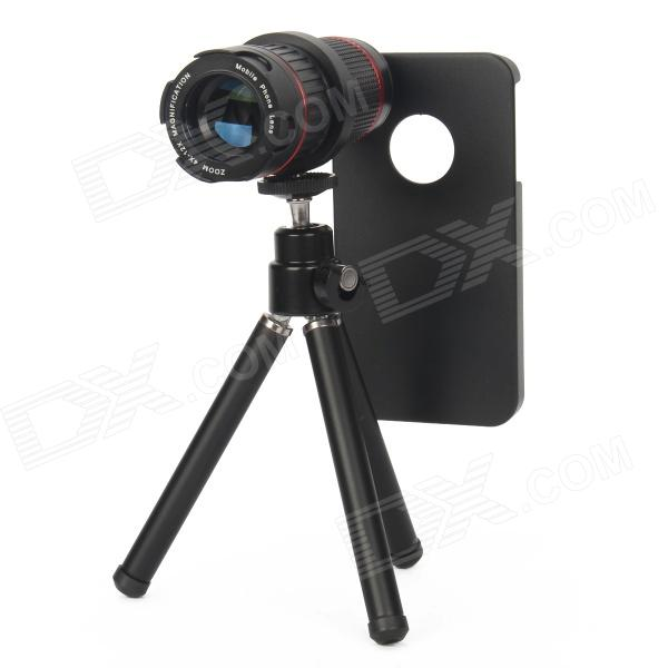4X~12X Detachable Telephoto Lens Set for Iphone 4 / 4s - Black detachable 14x camera zoom optical telescope telephoto lens set for iphone 4 4s silver black