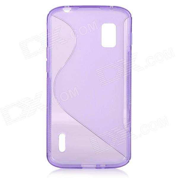 Anti-Slip S Style Protective TPU Back Case w/ Screen Protector for LG Nexus 4 E960 - Purple x style anti slip protective pvc tpu back case for lg nexus 5 e980 d820 black