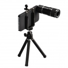 HAUTIK 12X Mobile Telephoto Lens w/ Mini TrIpod & Back Case for Iphone 5 / 5s - Black