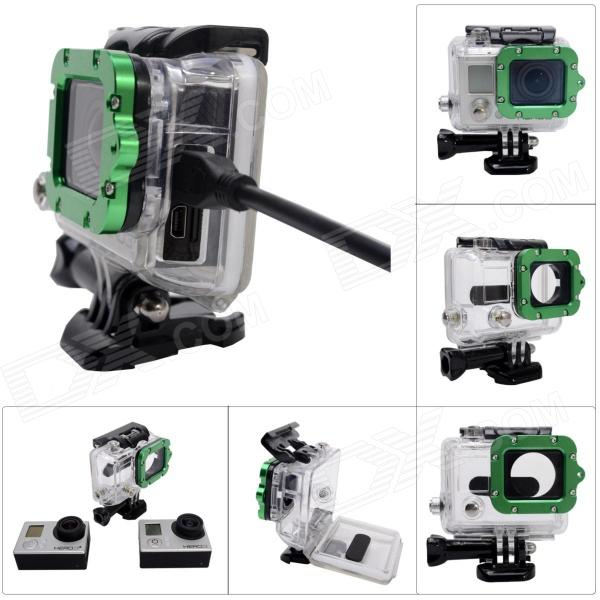 Side Open Protective Case w/ Individual Aluminum Alloy Strap Lens Ring for GoPro Hero 3+/3 - Green