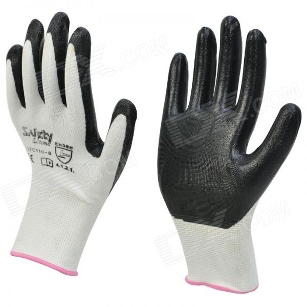 Galilee PNCG 101389 Protection Nylon Coated Industrial Gloves - Black + White (Pair)