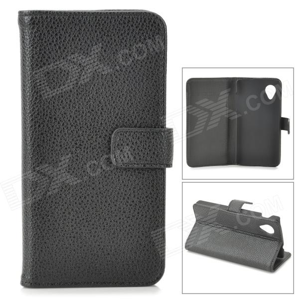 Lychee Grain Style Protective PU Leather Case w/ Card Holder Slots for Google Nexus 5 - Black bp a lychee grain style protective pu leather plastic case for google nexus 5 lg e980 black