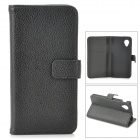 Lychee Grain Style Protective PU Leather Case w/ Card Holder Slots for Google Nexus 5 - Black