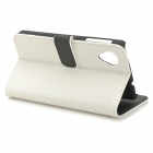 Lychee Grain Style Protective Case w/ Card Holder Slots for LG Nexus 5 - White