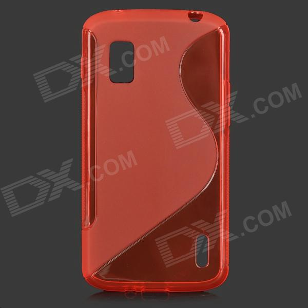 Anti-Slip S Style Protective TPU Back Case w/ Screen Protector for LG Nexus 4 E960 - Red x style anti slip protective pvc tpu back case for lg nexus 5 e980 d820 black