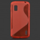 "Anti-Slip ""S"" Style Protective TPU Back Case w/ Screen Protector for LG Nexus 4 E960 - Red"