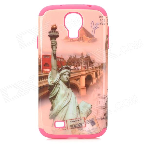 Statue of Liberty Style Protective Silicone + Plastic Case for Samsung Galaxy S4 i9500 - Deep Pink statue of liberty pattern protective plastic case for iphone 4 4s blue white