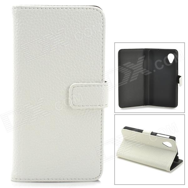 Lychee Grain Style Protective PU Leather Case w/ Card Holder Slots for Google Nexus 5 - White bp a lychee grain style protective pu leather plastic case for google nexus 5 lg e980 black