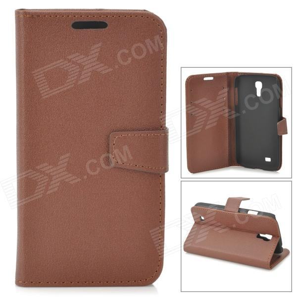 Protective PU Leather Case for Samsung Galaxy S4 i9500 - Brown cm001 3d skeleton pattern protective plastic back case for samsung galaxy s4