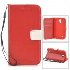 Protective PU Leather Case w/ Hand Strap for Samsung Galaxy S4 i9500 - Red
