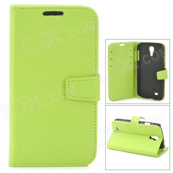 Protective PU Leather Case for Samsung Galaxy S4 i9500 - Green cm001 3d skeleton pattern protective plastic back case for samsung galaxy s4