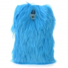 Stylish Plastic + Fur Case for Samsung Galaxy S4 i9500 - Blue
